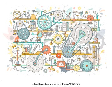 Sketch of people teamwork, gears, production. Doodle cartoon mechanism with machinery and cogwheels. Hand drawn vector illustration for business and industry design isolated on white.