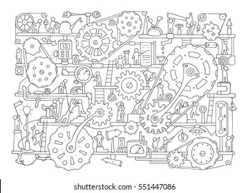 Sketch of people teamwork, gears, production. Doodle cartoon mechanism with machinery and cogwheels. Hand drawn vector illustration for business and industry design isolated on white