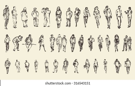 Sketch of people, vector Illustration, hand drawing