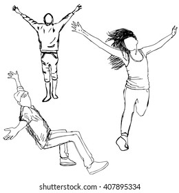 Sketch of people, vector illustration, hand drawn. Boys and girl with hands up