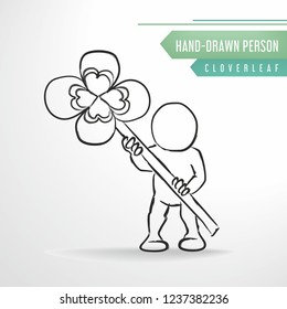 Sketch person with  Cloverleaf. Symbol of happiness. Vector hand-drawn man.