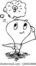 Sketch of a personificated lightbulb which has an idea. The illustration is also available as vector graphic.