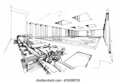 sketch perspective interior. Drawing pen with pencil black and white interior design. vector sketch