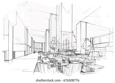 Interior design drawings perspective Office Sketch Perspective Interior Drawing Pen With Pencil Black And White Interior Design Vector Sketch Shutterstock Interior Design Sketch Images Stock Photos Vectors Shutterstock
