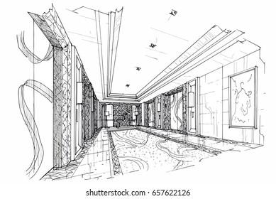 sketch perspective interior. hand drawn sketch pen with pencil black and white interior design. vector sketch