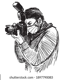 Sketch of a photographer in mask taking picture