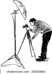 sketch of a photographer at work