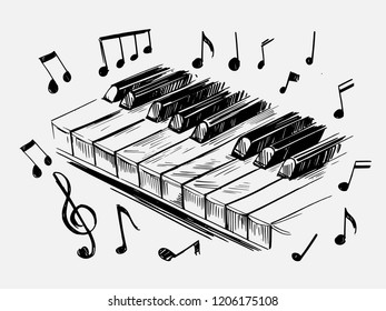 Sketch of piano keys. Hand drawn illustration converted to vector