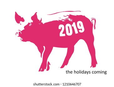 Sketch of pig with 2019 number. Creative greeting card design, can be used for flyers, invitation, posters, brochure, banners, calendar. Hand drawn vector illustration