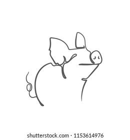 sketch of pig. engraved pig. line pig.