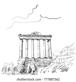 Sketch of pillars of temple of Saturn in Roman Forum, Rome, Italy. Hand drawn vector illustration, December 19, 2017