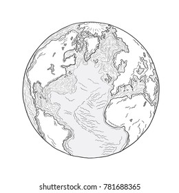 Sketch of the planet earth.