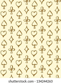 Sketch playing cards symbols seamless pattern