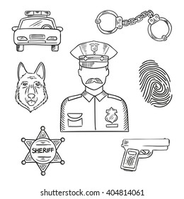 Sketch of police officer in uniform with badge and peaked hat with police car, pistol, handcuffs, sheriff star, police dog and fingerprint. Emergency service professions design