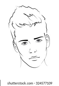 Sketch. Portrait of a handsome man, face close-up, black and white vector illustration