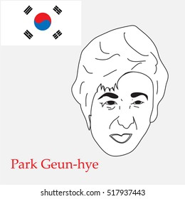 sketch portrait of the president of South Korea Park Geun-hye.