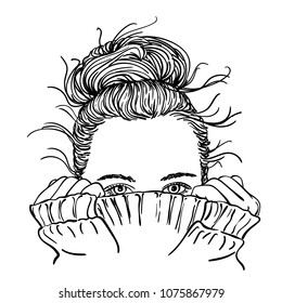 Sketch of portrait of teenage girl with bun hairstyle hiding her face in warm knitted sweater, only her beautiful eyes be seen, Hand drawn vector illustration