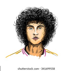 Sketch portrait of a young man with curly hair. vector fashion portrait
