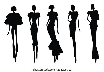 Sketch Poses - woman silhouettes
