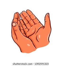 Sketch Praying Hands Gesture Vector