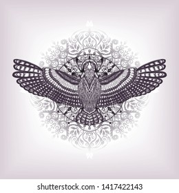 Sketch for print t shirt and tatoo art. Symbol of buddhism. The flying bird on the floral mandala. Boho chic. Lotus flower with dove. Black and white illustration. The esoteric symbol for yoga class.