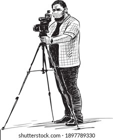 Sketch of professional photographer in mask shooting on camera