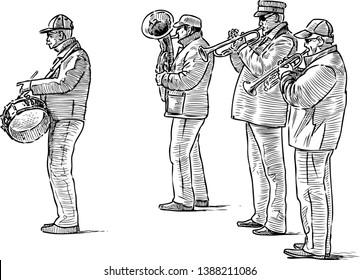 Sketch of a quartet of street musicians