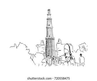 Sketch of Qutub Minar New Delhi India in vector illustration.