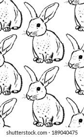Sketch rabbit, vector vintage seamless pattern