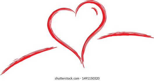 sketch red heart. hand drawing heart symbol