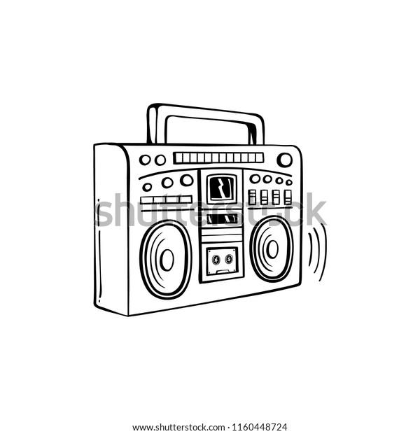 Sketch Retro 80s 90s Boombox Cassette Stock Vector (Royalty