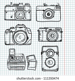 sketch retro camera set