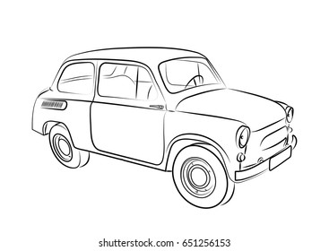 Sketch of a retro car on a white background. Vector illustration