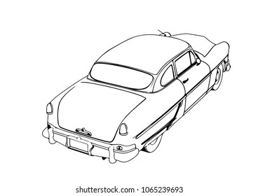 royalty free stock illustration of black white pencil concept art Real Future Cars sketch retro car vector