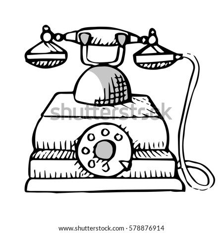 sketch retro phone isolated on white stock vector royalty free Retro Call sketch of retro phone isolated on white background vector illustration