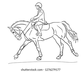Sketch of a rider cantering on a sport horse.