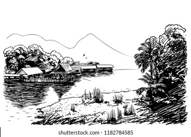 Sketch of river landscape in Southeast Asia with village, jungle and mountain, Hand drawn vector illustration