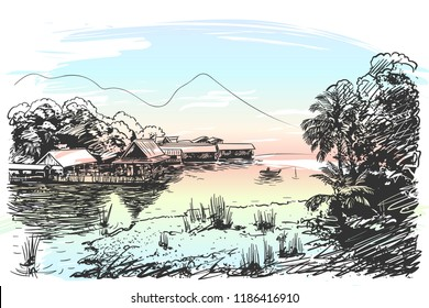 Sketch of river landscape in Southeast Asia with fishing boat, village, jungle and mountain, Hand drawn vector illustration