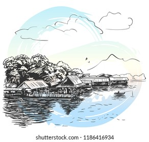 Sketch of river landscape in Southeast Asia with fishing boat, village, flying birds, clouds and mountain, Hand drawn vector illustration on watercolor background
