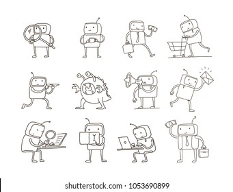 Sketch robot set alien character with business mail search money. Different situations. Hand drawn black line vector illustration.