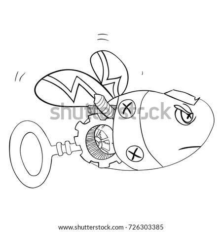 Sketch Robot Wasp Bee Steampunk Style Stock Vector Royalty Free