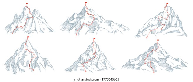 Sketch route to mountain peak. Hand drawn sketch mountains, path to top and climbing journey plan vector illustration set. Red flag on top. High destination, achievement and success symbol