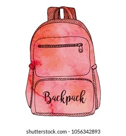 Sketch of a rucksack. Backpack isolated on white background. Vector illustration of a sketch style.Stylized watercolor. EPS 10