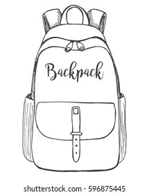 Sketch of a rucksack. Backpack isolated on white background. Vector illustration of a sketch style.