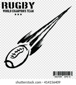 Sketch of Rugby football ball , vector illustration