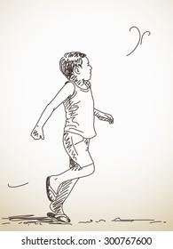 Sketch of running child, Hand drawn illustration