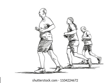 Sketch of running old people, Hand drawn vector illustration