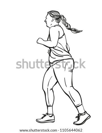 Sketch Running Overweight Woman Hand Drawn Stock Vector Royalty
