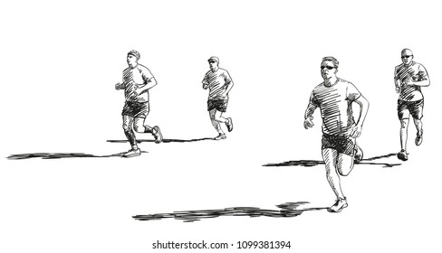 Sketch of running people with long shadow, Hand drawn vector illustration