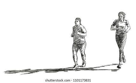 Sketch of running plus size women with long shadow, Hand drawn vector illustration